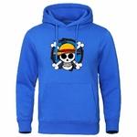 sweatshirt hoodie one piece skull strawhat bleu