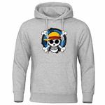 sweatshirt hoodie one piece skull strawhat gris