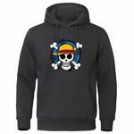 sweatshirt hoodie one piece skull strawhat noir
