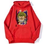 sweatshirt hoodie one piece roronoa zoro rouge