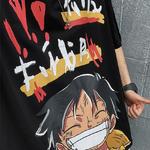 t shirt one piece harajuku luffy noir 2