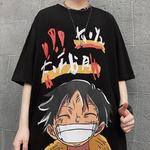 t shirt one piece harajuku luffy noir 3