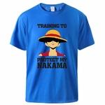 t shirt one piece protect nakama luffy bleu