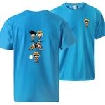t shirt one piece luffy goku fusion bleu clair