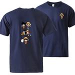 t shirt one piece luffy goku fusion bleu marine
