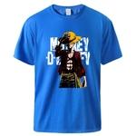 t shirt one piece monkey luffy bleu