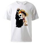 t shirt one piece monkey luffy flag blanc