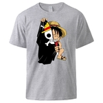 t shirt one piece monkey luffy flag gris