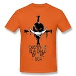 t shirt one piece barbe blanche logo orange