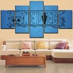 tableau toile one piece 5 parties logo bleu 2