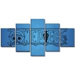 tableau toile one piece 5 parties logo bleu 3