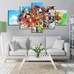 tableau toile one piece 5 parties mugiwara animaux 1