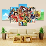 tableau toile one piece 5 parties mugiwara animaux 2