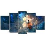 tableau toile one piece 5 parties thousand sunny 2