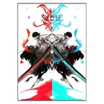 tableau toile one piece roronoa zoro red blue 3