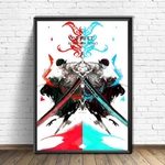 tableau toile one piece roronoa zoro red blue 4