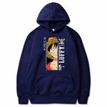 sweatshirt one piece monkey luffy bleu marine
