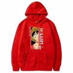 sweatshirt one piece monkey luffy rouge