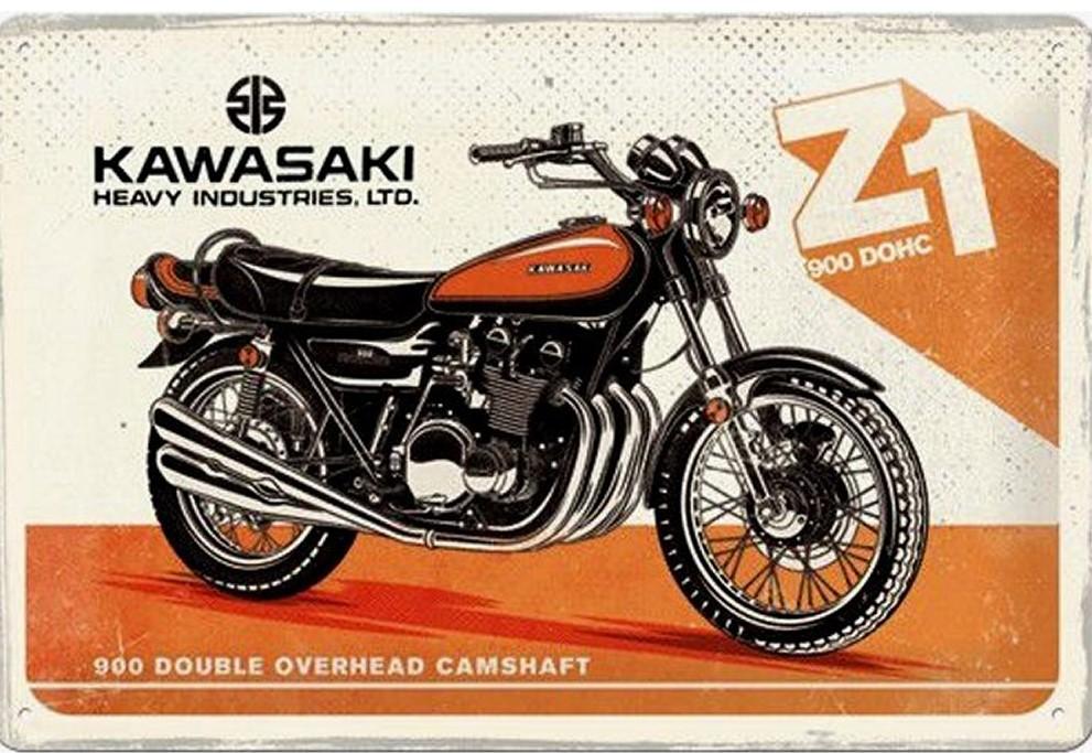 Plaque Kawasaki vintage 30 x 20