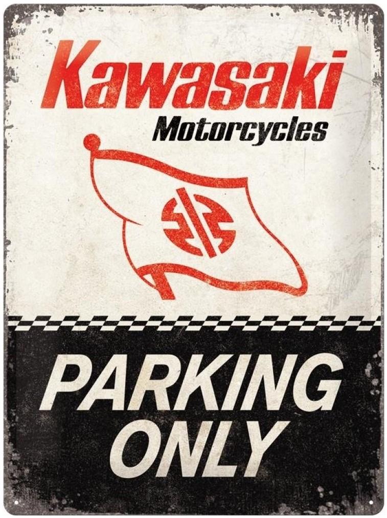 Plaque Kawasaki parking only 30 x 40