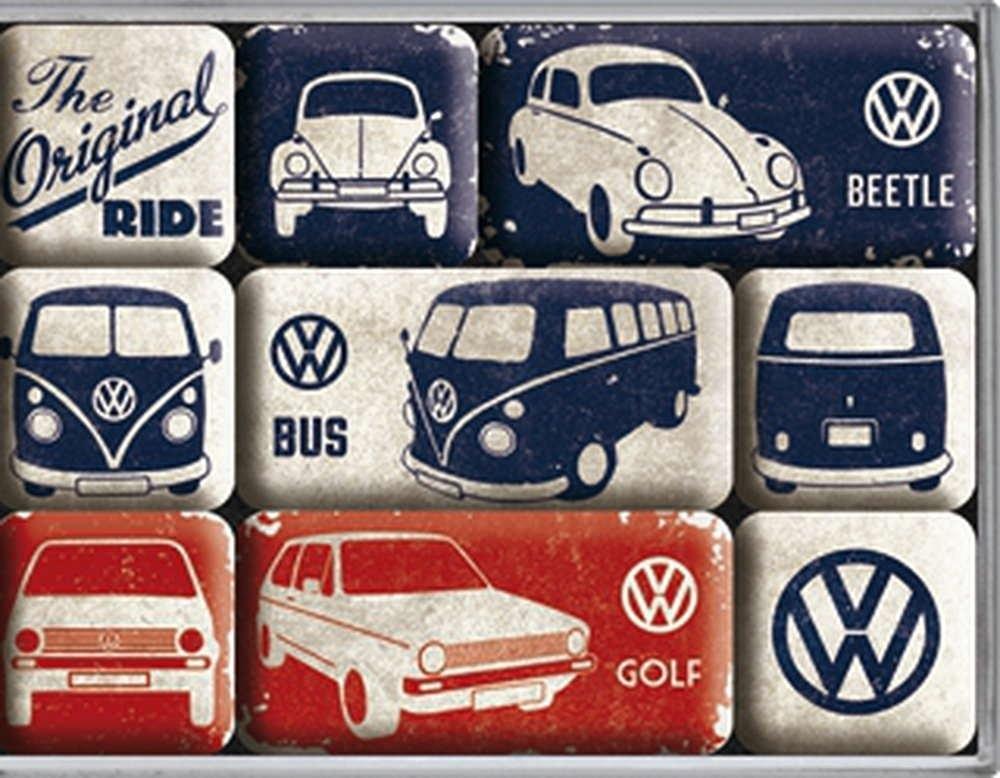 Lot de 9 magnets vw combi / bettle / golf