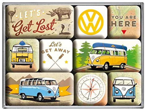 lot de 9 magnets vw combi vintage