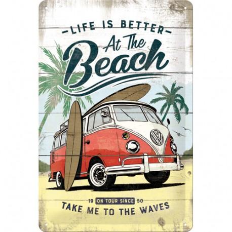 Plaque métal VW Combi beach 20 x 30
