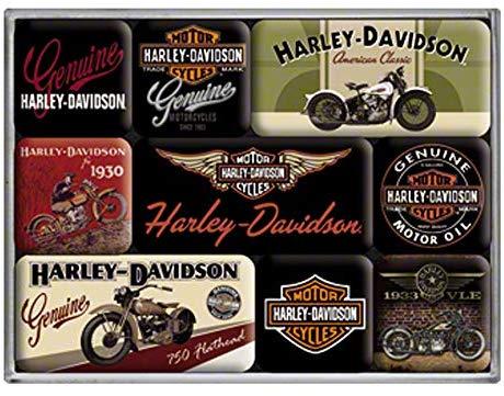 Lot de 9 magnets Harley