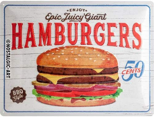 Plaque métal vintage fast-food 40 x 30