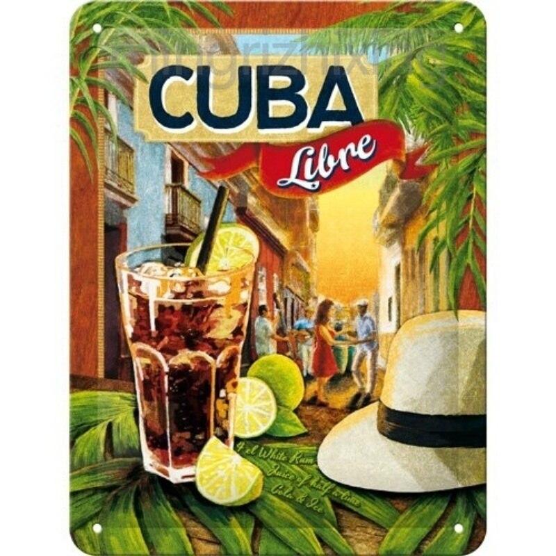 Plaque métal Cuba libre 30 x 40