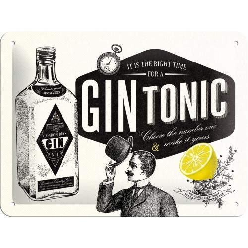 Plaque métal gin tonic  20 x 15
