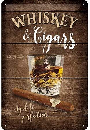 Plaque métal whiskey & cigars 20 x 30