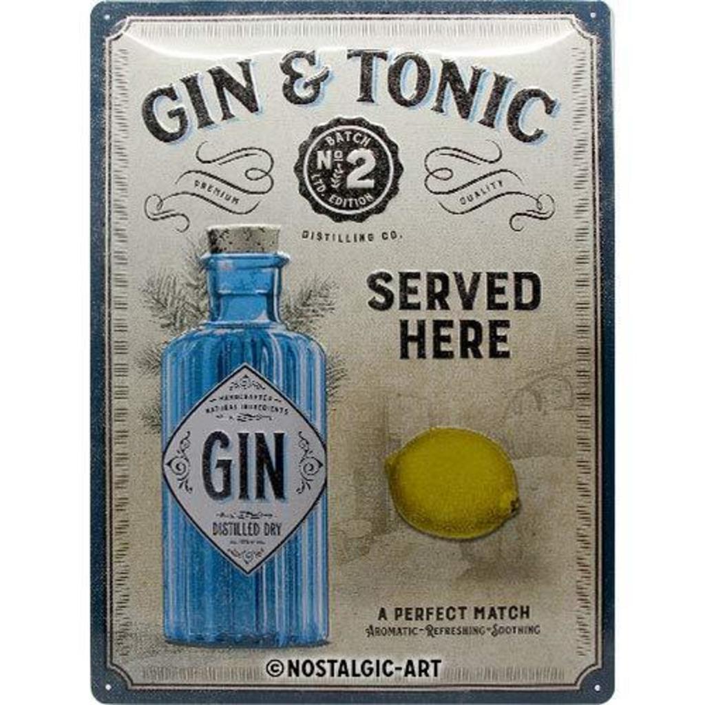 Plaque métal vintage gin tonic 30 x 40