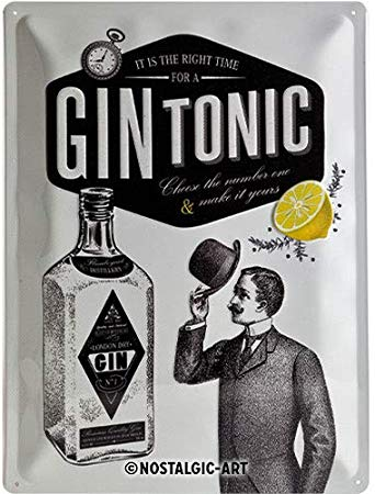Plaque métal Gin tonic 30 x 40