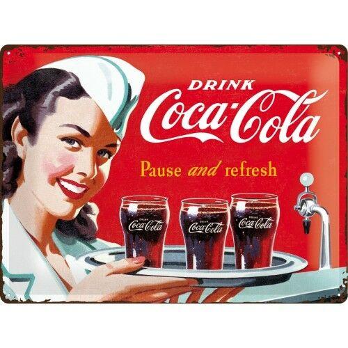 Plaque publicitaire métal Coca-cola 40 x 30