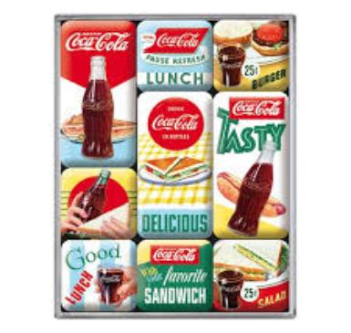 Lot de 9 magnets Coca-cola