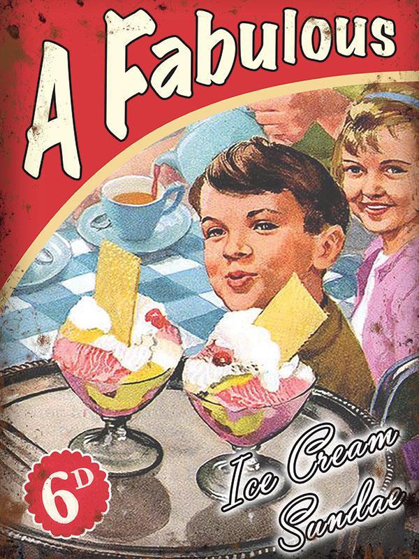 Plaque métal vintage Ice cream