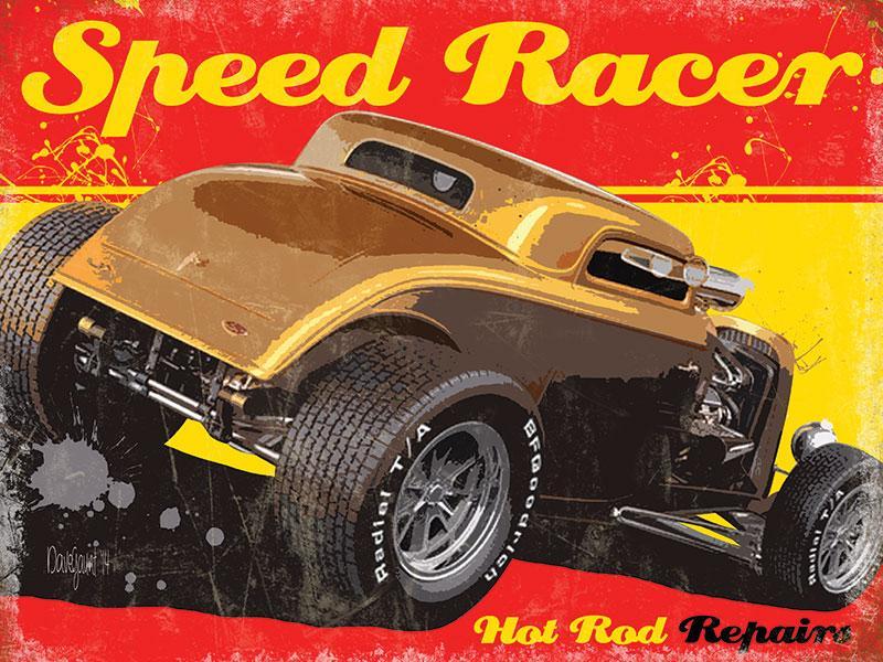 plaque métal Hot rod speed racer