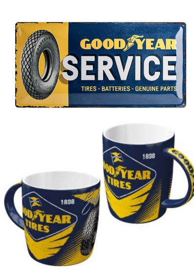 Lot plaque + 2 mugs Goodyear