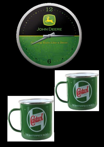 Lot Horloge John Deere + 2 mugs émaillés Castrol