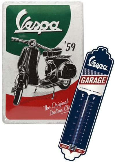 Lot plaque et thermomètre Vespa vintage