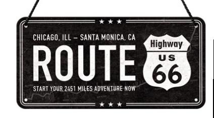 Plaque à suspendre Route 66 20 x 10