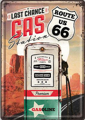 Plaque métal route 66 gas station 20 x 30