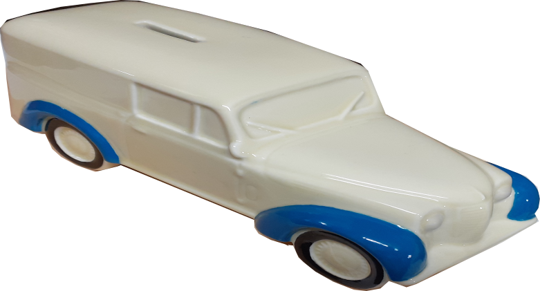 Tirelire porcelaine Renault Juvaquatre bicolore