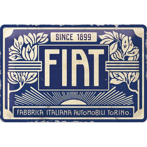 Plaque métal Fiat since 1899 30 x 20