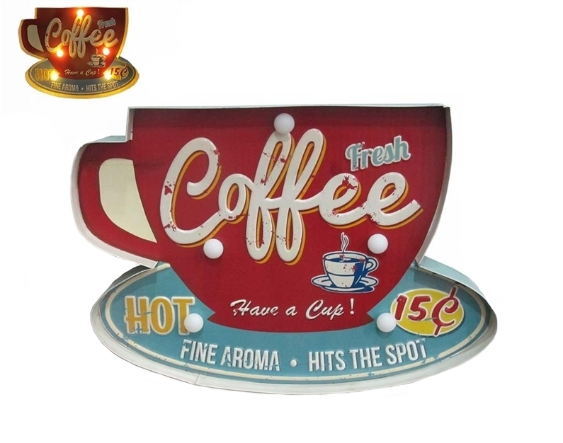 Enseigne lumineuse vintage coffee