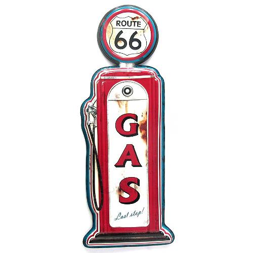 Plaque métal pompe à essence Route 66