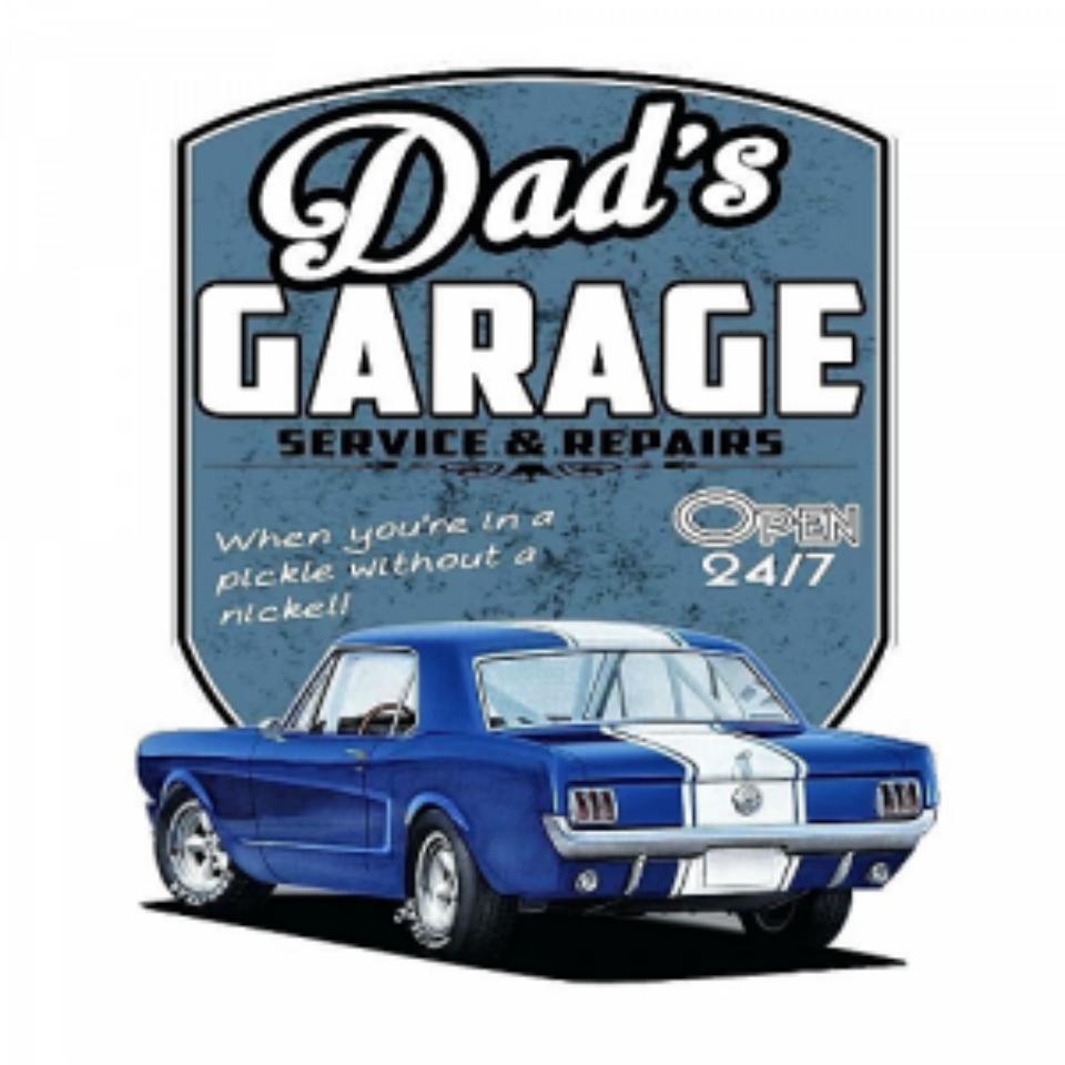 Plaque métal Dad\'s garage Mustang 34 x 35