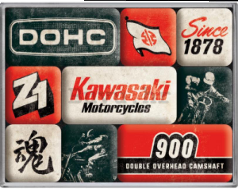 Lot de 9 magnets kawasaki