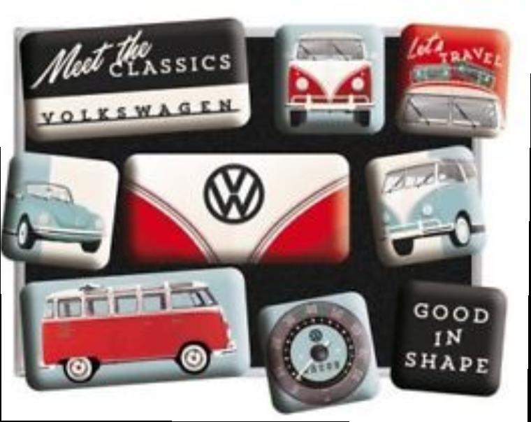 Lot de 9 magnets vw classics